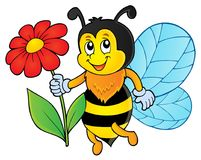 Happy bee holding flower theme 1 Stock Photography