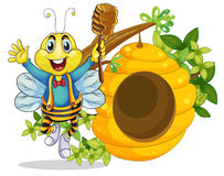 A happy bee holding a stick with honey Stock Image