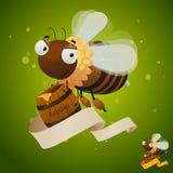 Happy bee with honey barrel and blank ribbon Royalty Free Stock Photography