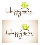 Happy Bee Logo Type stock illustration