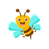 Happy Bee Mid Air With Sting, Natural Honey Production Related Carton Illustration. Primitive Vector Drawing With Beekeeping Associated Object Isolated On Royalty Free Stock Photo