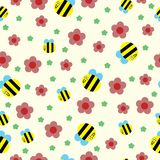 Happy bee and red flowers seamless pattern vector illustration