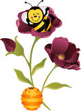 Happy bee sitting on flower Royalty Free Stock Images