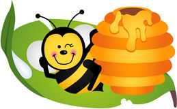 Happy bee sitting on leaf with hive. Scalable vectorial image representing a happy bee sitting on leaf with hive, isolated on white Royalty Free Stock Image