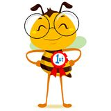 Happy Bee with 1st Place Ribbon. Vector Illustration of a Happy Smart Bee with 1st Place Ribbon Royalty Free Illustration