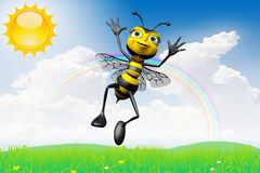 Happy bee sunny day Stock Photo