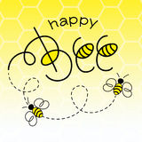 Happy Bee. Vector Illustration. Hand Lettered Text with Bees vector illustration