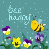 Happy Bee Vector Illustration. Hand Lettered Text with Bees. Vector postcard royalty free illustration
