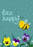 Happy Bee Vector Illustration. Hand Lettered Text with Bees. Vector postcard stock illustration