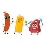 Happy beer can, meat steak, frankfurter sausage characters having party. Happy beer can, meat steak and frankfurter sausage characters having party, cartoon Stock Photo