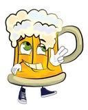 Happy beer cartoon Stock Images