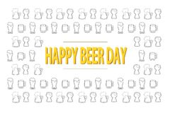 Happy beer day 3D lettering on background with black and wfite outline beer mugs. National celebration. Creative card template. Happy beer day 3D lettering on stock illustration