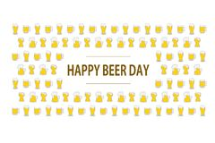 Happy beer day flat lettering on background with colorful beer mugs. National celebration. Creative card template. Happy beer day flat lettering on background stock illustration