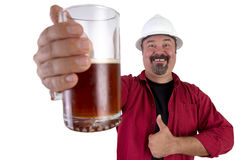 Happy Beer Drinking Hard Hat Worker Royalty Free Stock Photography