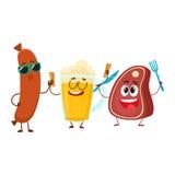 Happy beer mug, meat steak, frankfurter sausage characters having party. Happy beer mug, meat steak and frankfurter sausage characters having party, cartoon Royalty Free Stock Images