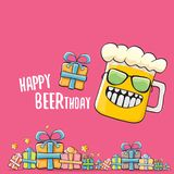 Happy Beerthday vector greeting card or print. Happy birthday party celebration poster with funky beer character and. Happy Beerthday vector greeting card or vector illustration