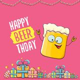 Happy Beerthday vector greeting card or print. Happy birthday party celebration poster with funky beer character and. Happy Beerthday vector greeting card or royalty free illustration
