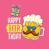 Happy Beerthday vector greeting card or print. Happy birthday party celebration poster with funky beer character and. Happy Beerthday vector greeting card or stock illustration