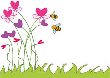 Happy bees on flowers , heart picture. Illustration of a background for text - bees on a flower bed stock illustration