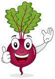 Happy Beet Character with Thumbs Up. A cute cartoon beet or chard character smiling with thumbs up, isolated on white background. Eps file available Stock Image