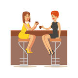 Happy Best Friends Catching Up In bar , Part Of Friendship Illustration Series. Smiling Cartoon Vector Characters Spending Time With Their Buddies And Mates Stock Photo