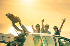 Free Happy Best Friends Cheering By Car Road Trip At Sunset Royalty Free Stock Images - 60398389