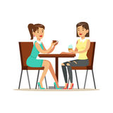 Happy Best Friends Drinking Coffee In Cafe, Part Of Friendship Illustration Series. Smiling Cartoon Vector Characters Spending Time With Their Buddies And Royalty Free Illustration