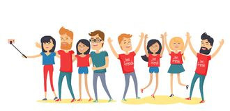 Happy Best Friends Have Fun Together Flat Vector. Happy best friends have fun together. Young men and women laughing with raised hands, making selfie flat vector Royalty Free Stock Photos