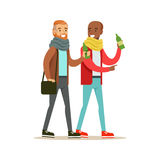 Happy Best Friends Having A Drink After Work , Part Of Friendship Illustration Series. Smiling Cartoon Vector Characters Spending Time With Their Buddies And Royalty Free Stock Photo
