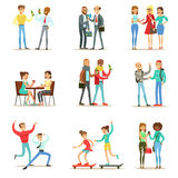 Happy Best Friends Having Good Time Together, Going Out And Talking Collection Of Friendship Themed Illustrations royalty free illustration