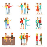 Happy Best Friends Having Good Time Together, Going Out And Talking Set Of Friendship Themed Illustrations Stock Photo