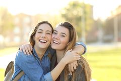Happy best friends posing looking at camera in a park royalty free stock image