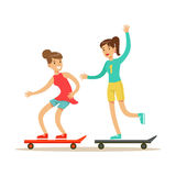 Happy Best Friends Riding Skateboards Together, Part Of Friendship Illustration Series. Smiling Cartoon Vector Characters Spending Time With Their Buddies And Royalty Free Stock Photo