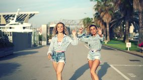 Happy best friends or sisters dancing and posing. And showing lovely relationship. They look happy. They have same jeans stock footage