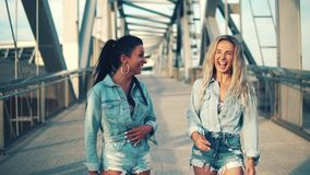 Happy best friends or sisters walking and talking. Showing lovely relationship. They look happy stock video