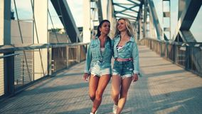 Happy best friends or sisters walking together. They look happy stock video footage