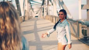 Happy best friends or sisters walking together. View from behind stock footage