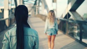 Happy best friends or sisters walking together. View from behind stock video