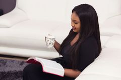 Happy Bible Study Devotional Time. Young Woman Studying the Word of God in the Morning Royalty Free Stock Photo