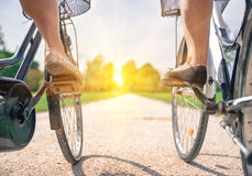 Happy on the bicycles Royalty Free Stock Photo