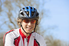 Happy Bicyclist In Sportswear Stock Photography