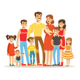 Happy Big Caucasian Family With Many Children Portrait With All The Kids And Babies And Tired Parents Colorful.  stock illustration