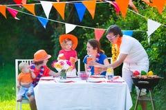 Happy big dutch family having grill party Royalty Free Stock Photo