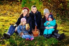 Happy Big Family in Autumn Park.Picnic. Royalty Free Stock Photos