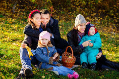 Happy Big Family in Autumn Park.Picnic. Royalty Free Stock Images