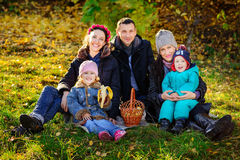 Happy Big Family in Autumn Park.Picnic. Happy Big Family in Autumn Park, picnic in lovely sunny day Stock Photography