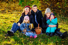 Happy Big Family in Autumn Park.Picnic. Happy Big Family in Autumn Park, picnic in lovely sunny day Royalty Free Stock Images