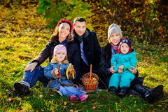 Happy Big Family in Autumn Park.Picnic. Royalty Free Stock Photos