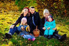 Happy Big Family in Autumn Park.Picnic. Royalty Free Stock Photography