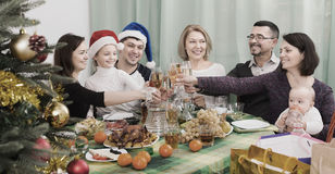 Happy and big family celebrates Christmas Royalty Free Stock Image